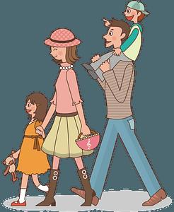 Familia paseando clipart
