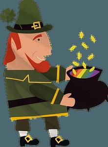 Leprechaun and pot of gold clipart