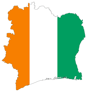 Ivory Coast Flag Map with Stroke clipart