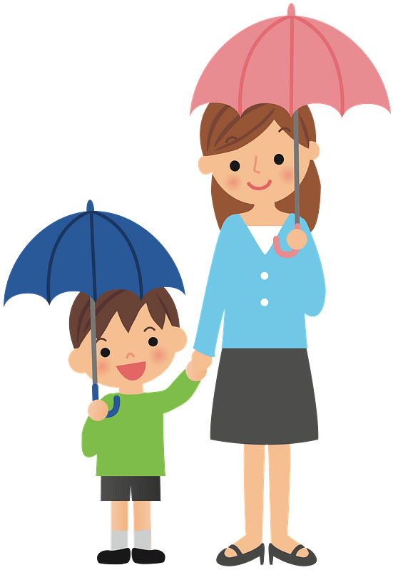 Enfant Et Maman Sous Deux Parapluies Image Clipart Telechargement Gratuit Transparent Png Creazilla