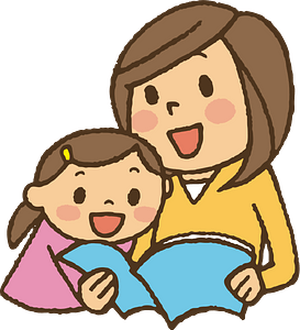 Reading with mother clipart