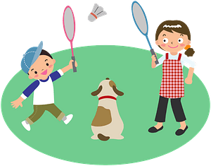 Mother plays badminton with son and dog clipart