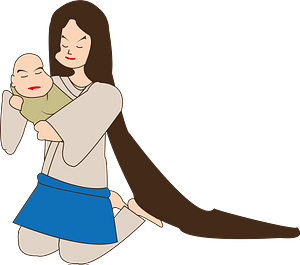 Japanese mother with a baby clipart