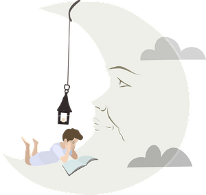 Boy reading on the Moon clipart
