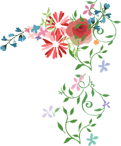 Vintage Watercolor flowers clipart
