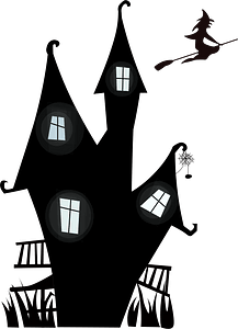 Haunted House and the Witch clipart