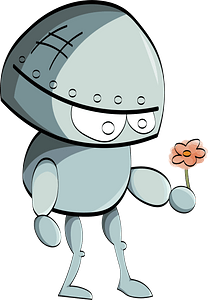 Robot with Flower clipart