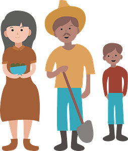 Peasants family clipart