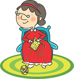 Grandma knitting clipart