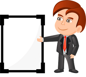 Businessman with presentation board clipart