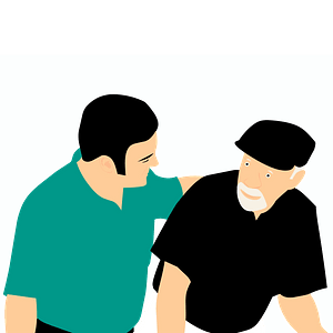 Young man and old man clipart