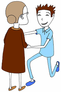 Old lady with a male nurse clipart