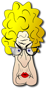 Old angry woman face clipart