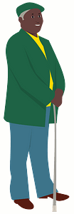 Old man with a cane clipart