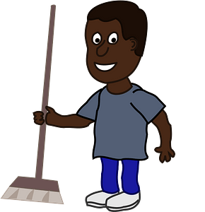 Man with a broom clipart
