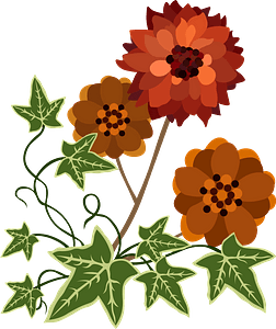 Red flower and Ivy clipart