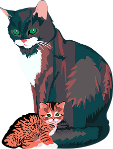 Mother Cat with Kitten clipart