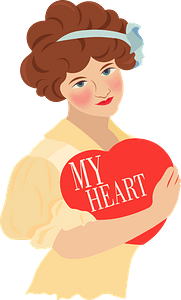 Valentine Vintage Card - Girl with Love Heart Box clipart
