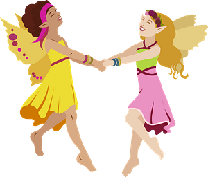 Vintage Card with dancing Fairies clipart