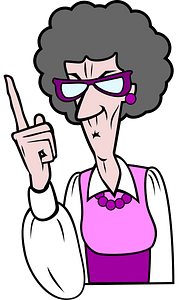 Pointing old woman clipart