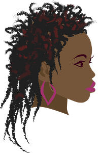 Girl with long twist braids clipart