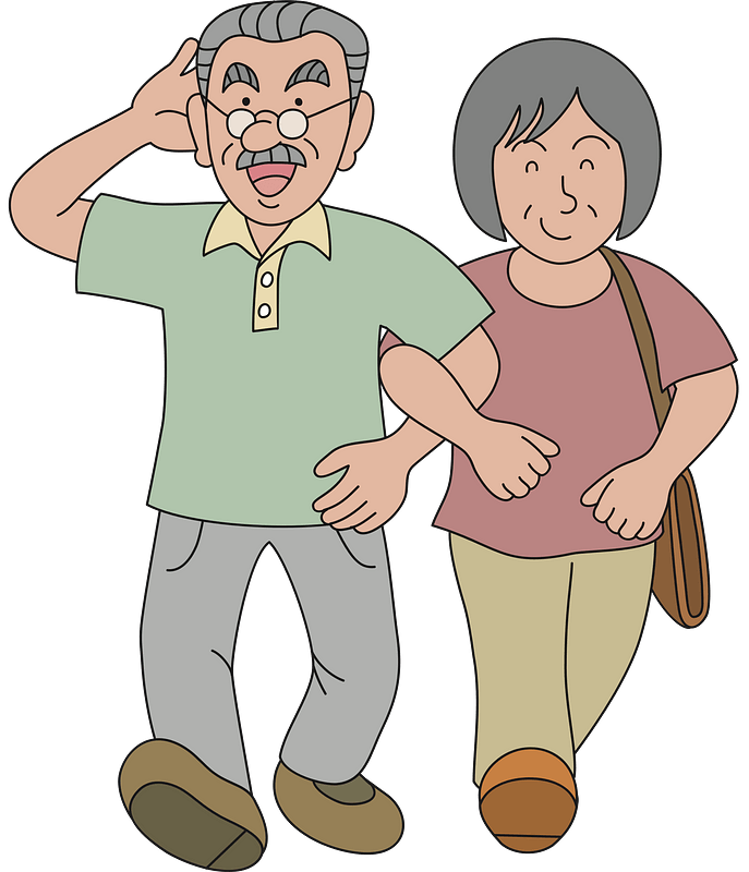 Senior couple walking clipart. Free download. | Creazilla