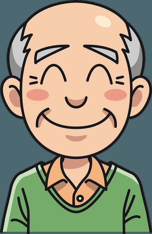 Older man smiling clipart