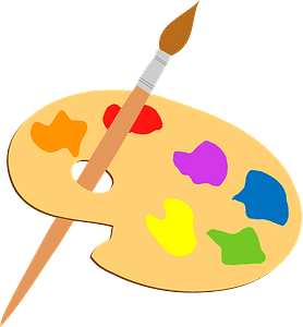 Paint palette and brush clipart