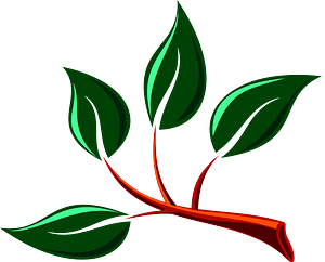 Branch with green leaves clipart
