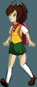 School girl walking clipart