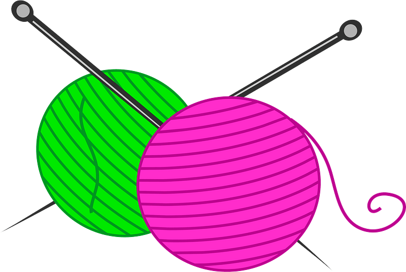 yarn balls and knitting needles clipart md