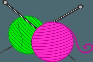 Yarn balls and knitting needles clipart