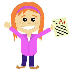 Excellent student girl clipart