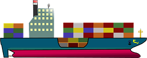 Container ship clipart