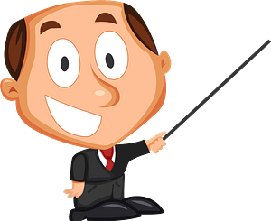 Cartoon businessman with pointer clipart