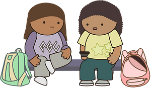 Schoolkids waiting for the bus clipart