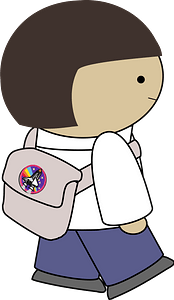 Girl with backpack clipart