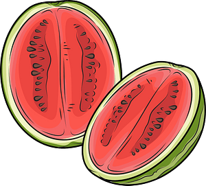 Watermelon cut in half clipart