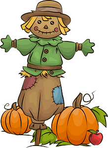 Scarecrow and pumpkin patch clipart