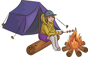 Girl in camping clipart