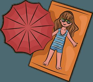 Girl on a beach clipart