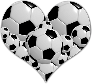 Heart with soccer balls clipart