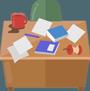 Messy desk clipart