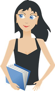 Girl with a book clipart