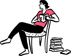 Sitting and reading clipart