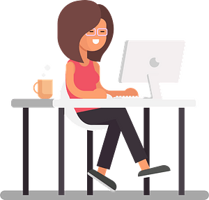 Girl working on computer clipart