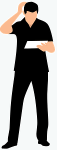 Student scratching head clipart