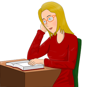 Girl studying clipart