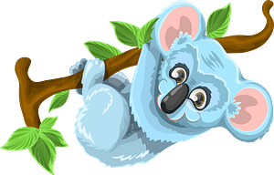 Koala Hanging From Branch clipart