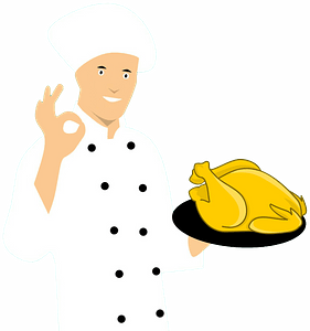 Chef with chicken clipart